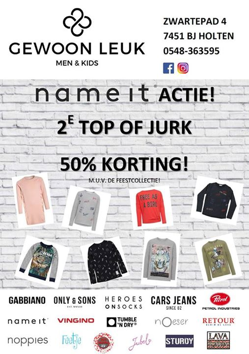 NAME-IT ACTIE VOOR DE BOYS & GIRLS!  2E TOP OF JURK, 50% KORTING!     #Holten  #...